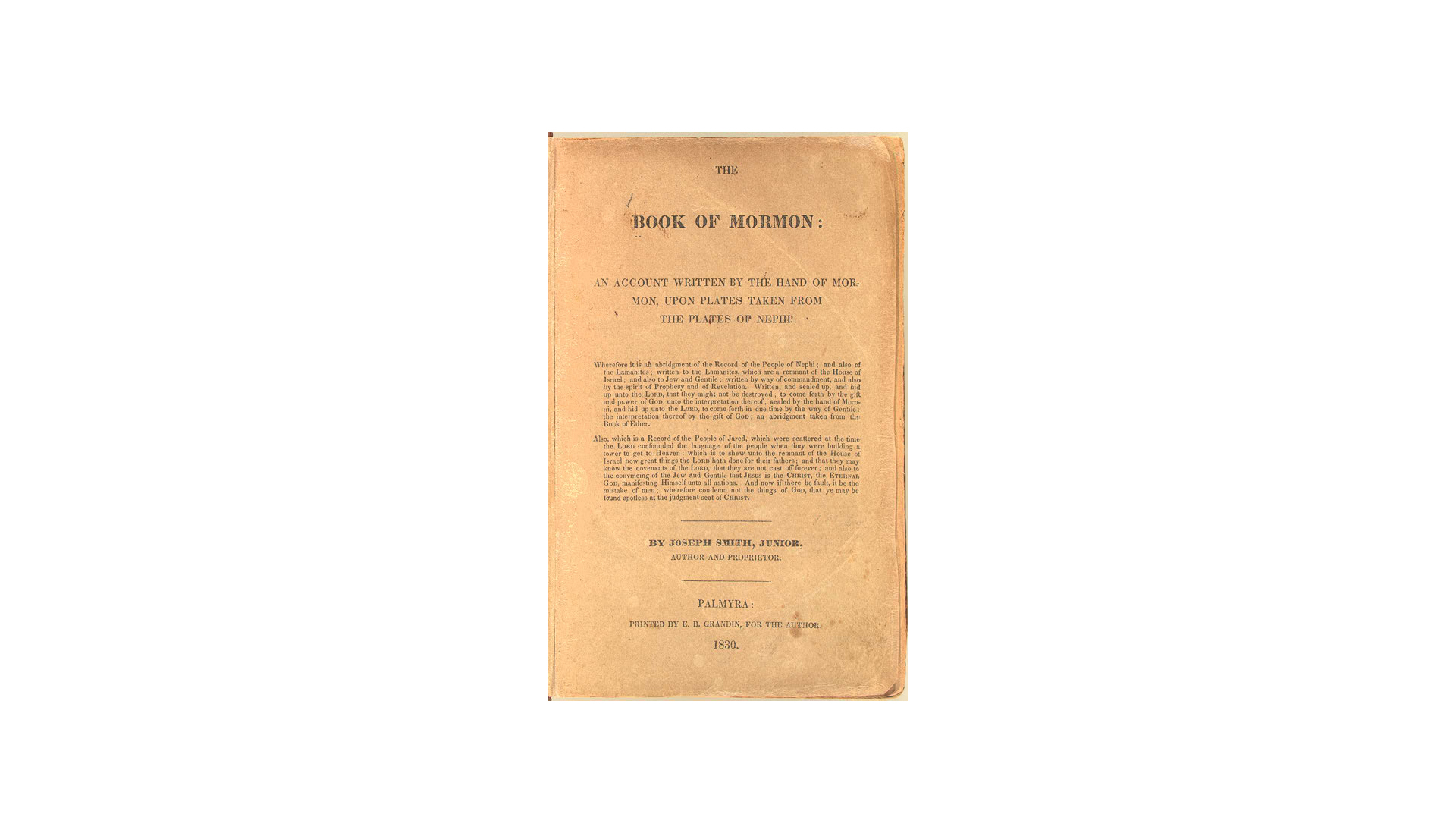 Book of Mormon: Title Page and Testimonies
